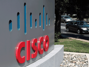 A sign outside Cisco Systems headquarters in San Jose, California.