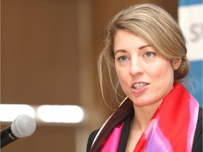 """Mélanie Joly speaks at a Greater Sudbury Chamber of Commerce luncheon in Sudbury, April 2019. """"Despite reassurances from Official Languages Minister Mélanie Joly, the government has put forward specific proposals that would provide rights to work and receive services in French — but not provide the equivalent in English,"""" Marlene Jennings writes."""