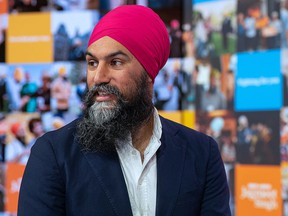 Federal NDP Leader Jagmeet Singh is seen on April 11, 2021, during the party's virtual policy convention.