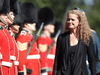 Newly sworn in Governor general Julie Payette inspects the honour guard at Rideau hall in Ottawa, October 2, 2017.