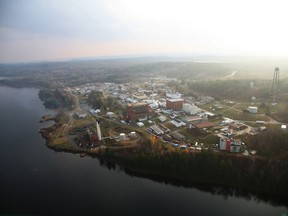 An aerial view of Chalk River laboratories on the shores of the Ottawa River.