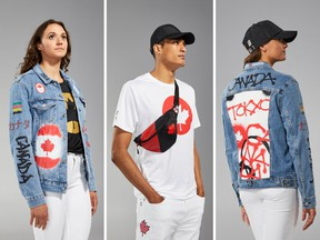 "The Opening Ceremony uniform, centre, and the closing ceremony ""Canadian Tuxedo."""