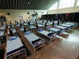 Beds with oxygen support are seen at a recently constructed quarantine facility for patients diagnosed with the coronavirus disease (COVID-19), in Mumbai, India, April 13, 2021.