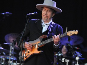 In this file photo taken on July 22, 2012, Bob Dylan performs at the Vieilles Charrues music festival in Carhaix-Plouguer, France.