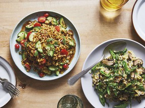 Freekeh with shiitake mushrooms, leeks and sugar snap peas from Mother Grains.
