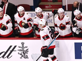 File photo/ Ottawa Senators defenseman Artem Zub (2) celebrates his goal against Montreal Canadiens with teammates during the first period at Bell Centre.