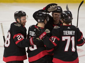May 5, 2021; Ottawa, Ontario, CAN; The Ottawa Senators celebrate a goal scored by right wing Connor Brown (28) in the third period against the Montreal Canadiens at the Canadian Tire Centre.
