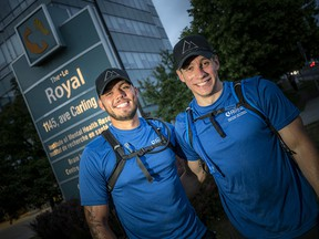 Anthony Larocque and Alex Laviolette, best friends since childhood, walked 100 kilometres in less than 24 hours to raise funds and awareness for mental health. The trek started just after midnight on Friday near Hawkesbury and ended near 9 p.m. Saturday on the front lawn of The Royal.
