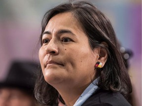 Files: Commissioner Michele Audette listens to testimony at the National Inquiry into Missing and Murdered Indigenous Women and Girls, in Richmond, B.C., on April 8, 2018.