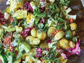 When making Christina Loucas's Cypriot potato salad, try breaking the freshly cooked potatoes apart with a fork, rather than cutting them up. It will help them soak up more of the dressing.
