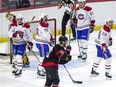 Ottawa Senators #50 Maxence Guenette reacts after scoring against the Montreal Canadiens during the first period on Saturday.