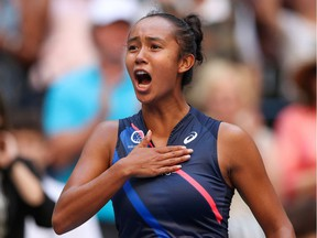 Laval's Leylah Fernandez celebrates after defeating Elina Svitolina of Ukraine during their U.S. Open quarter-final match on Sept. 7, 2021, in Flushing, N.Y.
