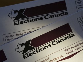 A stock image of Elections Canada voter information cards.