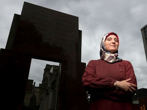 Monia Mazigh in front of the Human Rights Monument in Ottawa.