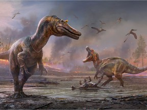 The meat-eating dinosaurs Ceratosuchops inferodios, in the foreground, and Riparovenator milnerae, in the background are seen in an undated artist's rendition. Fossils of these two Cretaceous Period dinosaurs were discovered on England's Isle of Wight.