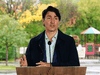 Prime Minister Justin Trudeau speaks during a press conference as he visits the Children's Hospital of Eastern Ontario in Ottawa on Oct. 21, 2021.