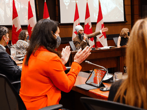 NDP Leader Jagmeet Singh addresses his caucus at a meeting in Ottawa on Wednesday, Oct. 6, 2021.