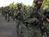 Soldiers march during the annual Han Kuang anti-invasion drill in Tainan, Taiwan, September 14, 2021.