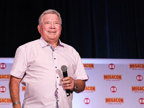 Actor William Shatner, best known for his portrayal of Captain James T. Kirk of the USS Enterprise in the Star Trek television series and movies is shown on August, 8, 2021, at the opening day of MEGACON comic book and sci-fi convention at the Orange County Convention Center. (Photo by Paul Hennessy/SOPA Images/LightRocket via Getty Images)
