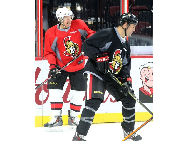 The two captains of the upcoming game, Chris Phillips and Daniel Alfredsson. Ottawa Senators alumni took to the ice for a warmup for their big game Friday night on Parliament Hill at Canadian Tire Centre Thursday (Dec. 14, 2017) night. Julie Oliver/Postmedia
