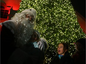 Santa Clause was a popular man during the lighting of the Christmas Tree at TD Place in Ottawa, November 30, 2017. Photo by Jean Levac Assignment