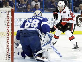 Senators winger Mike Hoffman skates in on Lightning goalie Andrei Vasilevskiy during a game on Dec. 21. Hoffman appears to be one of the most desirable prospects if Senators GM Pierre Dorion wants to make a trade to shake up his struggling squad.