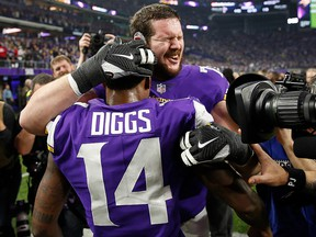 Stefon Diggs of the Minnesota Vikings celebrates with teammates after defeating the New Orleans Saints in the NFC Divisional Playoff game at U.S. Bank Stadium on January 14, 2018 in Minneapolis. (Jamie Squire/Getty Images)