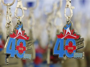 Medals celebrating the 40th edition of the Gatineau Loppet hang at the finish line on Saturday. Patrick Doyle/Postmedia