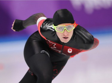 Ivanie Blondin of Ottawa in action during her race in the women's 3,000m speed skating event on Saturday. Jean Levac/Postmedia