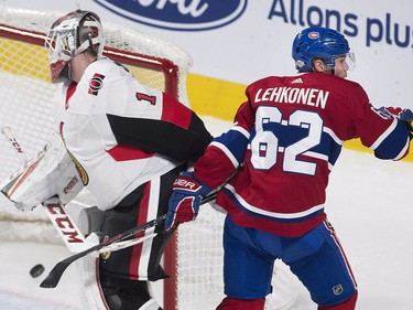 Montreal Canadiens left wing Artturi Lehkonen (62) scores against Ottawa Senators goaltender Mike Condon (1) during second period NHL hockey action in Montreal, Sunday, February 4, 2018.