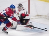 Montreal Canadiens centre Tomas Plekanec (14) moves in on Ottawa Senators goaltender Mike Condon (1) during second period NHL hockey action in Montreal, Sunday, February 4, 2018. THE CANADIAN PRESS/Graham Hughes ORG XMIT: GMH105