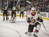 Senators winger Alexandre Burrows celebrates after scoring what proved to be the winning goal against the Golden Knights on Friday night. AP Photo/L.E. Baskow