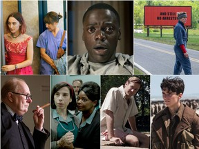 The 2018 nominees for Best Picture at the 90th Academy Awards (Clockwise L-R): Lady Bird; Get Out; Three Billboards Outside Ebbing, Missouri; Dunkirk; Call Me by Your Name; The Shape of Water; Darkest Hour.