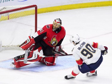 Florida Panthers centre Jared McCann (90) blasts a breakaway shot past Ottawa Senators goaltender Craig Anderson (41) during the second period of NHL hockey action in Ottawa on Tuesday, March 20, 2018.