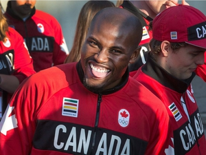 Track athlete Segun Makinde sticks out his tongue as Team Canada's Rio 2016 athletes and coaches attend events held at the University of Ottawa to celebrate their achievements during the Summer Olympic Games.   photo by Wayne Cuddington/ Postmedia