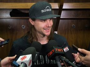 Erik Karlsson discusses his future with the media as the Ottawa Senators clear out their lockers and have their exit meetings at Canadian Tire Centre. (Wayne Cuddington/ Postmedia)
