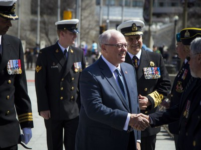 The Anniversary of the Battle of the Atlantic Ceremony to commemorate the sacrifices made by thousands of Canadians who fought in the North Atlantic took place in Ottawa Sunday May 6, 2018, at the National War Memorial. Senator George Furey, the reviewing officer, inspected the parade and spoke with the veterans. Furey also laid a wreath of behalf of Parliament.  Ashley Fraser/Postmedia