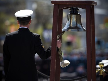 The Anniversary of the Battle of the Atlantic Ceremony to commemorate the sacrifices made by thousands of Canadians who fought in the North Atlantic took place in Ottawa Sunday May 6, 2018, at the National War Memorial. Master Seaman Ryan Clifford rang the bell as the announced those lost.   Ashley Fraser/Postmedia