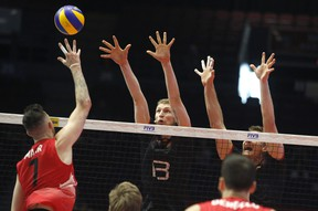 Team Canada fell to Germany 25-23, 25-22, 25-20, 25-19 at The Arena at TD Place last night. FIVB photo