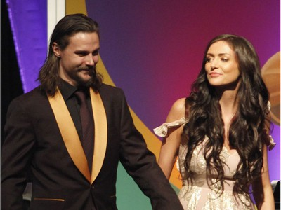 Senators captain Erik Karlsson and his wife, Melinda, are introduced at the Senators Soiree in Gatineau on Feb. 11.