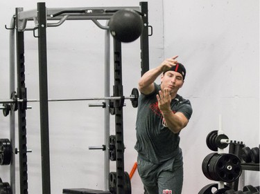 Ottawa Senators Matt Duchene performing a fitness test at the Canadian Tire Centre on the first day of training camp. September 13, 2018.