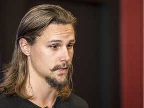 Erik Karlsson speaks to the media at the Canadian Tire Centre after he was traded from the Ottawa Senators to the San Jose Sharks on Thursday, Sept. 13, 2018.