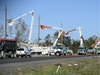 Hydro crews work to restore power following a tornado in Dunrobin, Ont., west of Ottawa, on Monday, Sept. 24, 2018. The tornado that hit the area was on Friday, Sept, 21. THE CANADIAN PRESS/Sean Kilpatrick ORG XMIT: SKP101