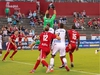 Goalkeeper Maxime Crépeau of Ottawa Fury FC plays a high ball in the box among a crowd of teammates and Richmond Kickers attackers during a United Soccer League game at Richmond, Va., on Saturday, Sept. 15, 2018. Ottawa won the contest 2-0. Richmond Kickers photo