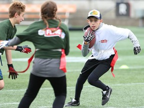 Action from the CFL/NFL Flag Football Tournament during Grey Cup Week in Ottawa in November 2017. Eric Noivo/Canadian Football League
