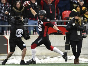 Ottawa Redblacks Brendan Gillanders (25) celebrates a touchdown during second half CFL East Division final action against the Hamilton Tiger-Cats, in Ottawa on Sunday