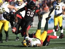 The Redblacks have decided against dressing their sacks leader, A.C. Leonard (99), for the East final.