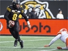 Hamilton Tiger-Cats quarterback Jeremiah Masoli (8) scrambles against the B.C. Lions during first half CFL Football division semifinal game action in Hamilton, Ont. on Sunday, November 11, 2018. THE CANADIAN PRESS/Peter Power ORG XMIT: pmp108