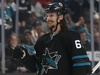 San Jose Sharks' Erik Karlsson (65) smiles after a goal against the Vancouver Canucks during the third period of an NHL hockey game in San Jose, Calif., Friday, Nov. 23, 2018. Erik Karlsson tells a small group of reporters waiting near his locker that the only topic they really want to discuss, his impending return to Ottawa as a member of the San Jose Sharks later this week is off limits.THE CANADIAN PRESS/AP, Josie Lepe ORG XMIT: CPT124