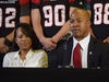Overlooking TD Place field, where he helped bring the Grey Cup home this past November, Ottawa RedBlacks quarterback Henry Burris announced his retirement on Jan. 24, as his wife Nicole looks on.